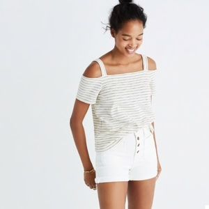 Madewell Cold Shoulder Tee In Bellamy Stripe M/L